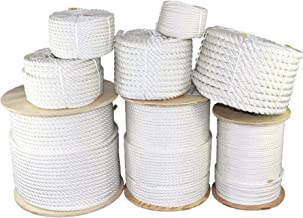 SGT KNOTS Twisted Polyester Rope (1/4 inch - 2 inch) White - Low Stretch - Moisture, UV, Rot, Oil, Chemical Resistant - Ri...