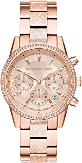 Women's Ritz Analog-Quartz Watch with Stainless-Steel-Plated Strap, Rose Gold, 18 (Model: MK6598)