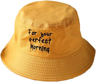 df0dbb89fa1 ChezAbbey Flat Top Bucket Hats Solid Color Sun Protection Fisherman Caps  with Embroidery Letters
