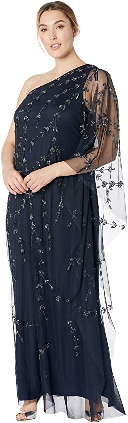 Plus Size One Shoulder Beaded Kaftan Evening Gown