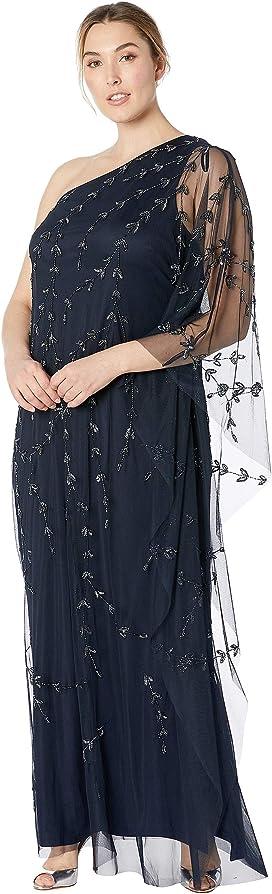 f3e00074a61 Kiyonna. Scalloped Boudoir Lace Dress.  148.00. Plus Size One Shoulder  Beaded Kaftan Evening Gown