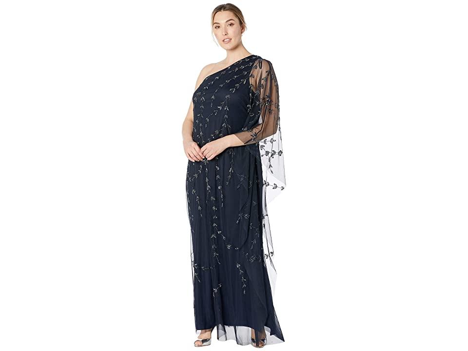 Adrianna Papell Plus Size One Shoulder Beaded Kaftan Evening Gown (Midnight) Women