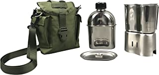 Jolmo Lander G.I.Military Canteen Cookware Set Camping Canteen Mess Kit Stainless Steel Canteen with Cup,Lid,Stove,Pouch