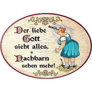 Shabby Vintage Schild Türschild DER LIEBE GOTT WEIß ALLES.. Holzschild Nachbarn