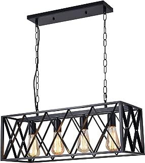 Diborui Industrial Kitchen Island Lighting with 4 E26 Sockets, Rectangular Vintage Pendant Light, Farmhouse Hanging Ceiling Light Fixture Metal Retro Chandeliers for Restaurant, Kitchen and Bar, 240W