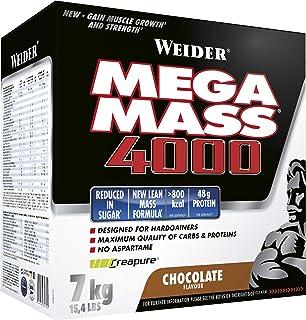 Weider Mega Mass 4000 Weight Gainer Shake met proteïne en creatine, choco, spieropbouw, 7 kg