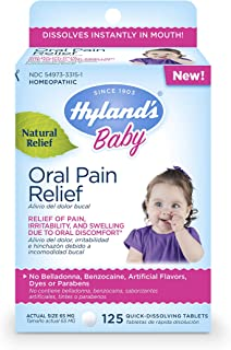 Hyland's Baby Oral Pain Relief Tablets, Soothing Natural Relief of Oral Discomfort, Irritability, and Swelling, 125 Count