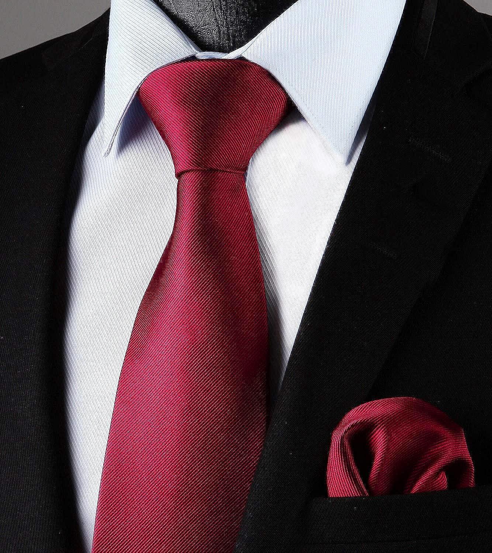 Enlision Corbata de color liso y corbata cuadrada de bolsillo para hombres