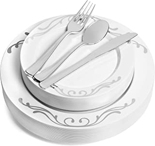 125 Piece Silver Rim Design Dinnerware Set - 25 Guest Heavyweight Tableware Combo Set - Disposable or Reusable - 25 Dinner Plates - 25 Salad Plates or Dessert Plates - 25 Knives - 25 Forks - 25 Spoons