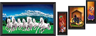 SAF Wood, Glass Figures, Animals, Abstract Framed Painting