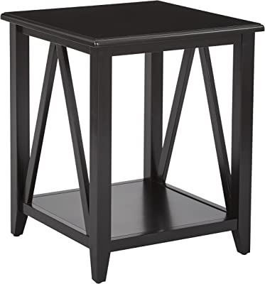 OSP Home Furnishings Santa Cruz Solid Wood and Veneer End Table, Black