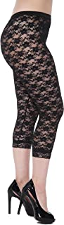 Lace Capri Leggings Footless Tights Floral Pattern Cropped Pants