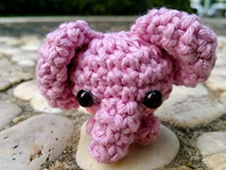 SSJSHOP Elephant Miniature Figurines Amigurumi Animals Crochet Soft Toy Stuffed Animals Baby, Pink