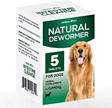 HERBALPET 8in1 Health Supplements   Natural Dog Dewormer Alternative   Intestinal Cleanse   Works for Puppy, Small, Medium and Large Dogs   5 Tablets   One-time Treatment