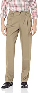 Men's Classic Fit Signature Khaki Lux Cotton Stretch Pleated Pants