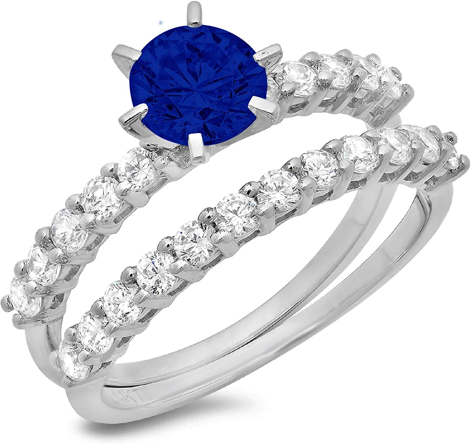 2.94ct Round Cut Pave Solitaire with Accent Ideal Flawless Simulated CZ Blue Sapphire Engagement Promise Designer Anniversary Wedding Bridal ring band set 14k White Gold