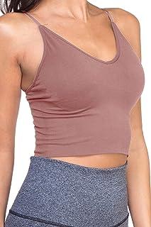 TOP LEGGING TL Women's Active Seamless Crop Cami Bras - Yoga Athletic Workout Sports Bra