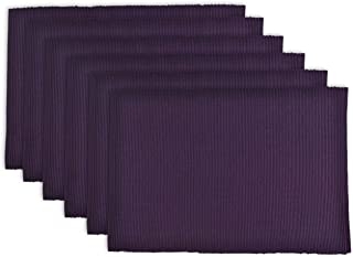 """DII 100% Cotton, Ribbed 13x 19"""" Everyday Basic Placemat Set of 6, Eggplant"""