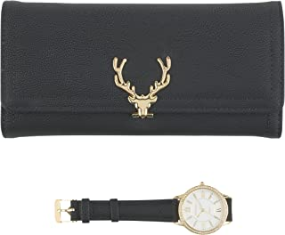 Women's Gold Watch with Crystal Bling on The Bezel & Matching Black Wallet Gift Set