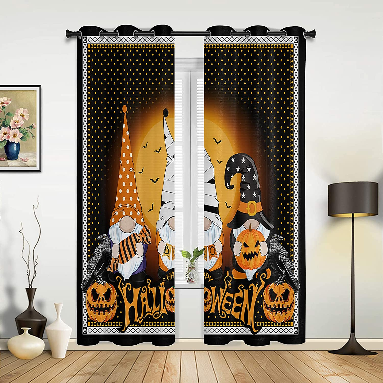 Window Sheer Curtains Max 68% OFF 1 year warranty for Bedroom Happy Halloween Gn Living Room
