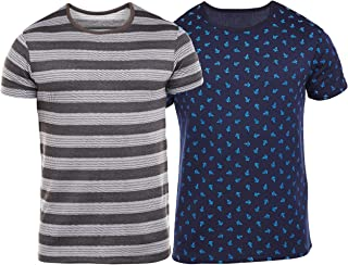 VIMAL JONNEY Overall Print Navy and Grey Striped Printed Tshirts for Men(Pack of 2)-T_PRT_NO.8_NV_Striped_Gry_02-P