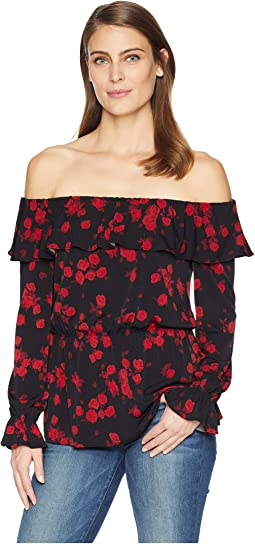Rose Off Shoulder Ruffle Top