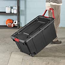 product image for Sterilite 14699002 40 Gallon/151 Liter Wheeled Industrial Tote, Black Lid & Base w/Racer Red Handle & Latches, 2-Pack