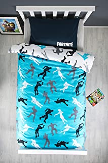 Fortnite Funda de edredón oficial individual con diseño de dabbing | Funda de edredón azul con funda de almohada a juego reversible