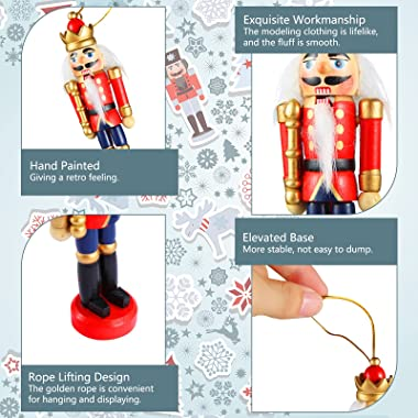 12 Pieces Christmas Nutcracker Ornament Small Wooden Nutcracker Soldier Hanging Decorations Nutcracker Figure Christmas Ornam