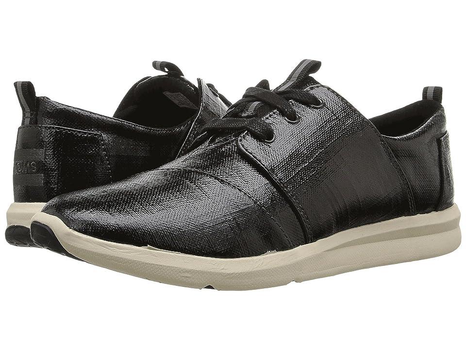 TOMS Del Rey Sneaker (Black Patent Linen) Women
