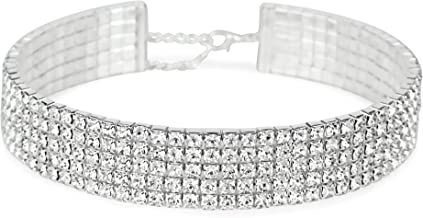 LuxeLife Rhinestone Choker 3 5 or 8 Row Silver Women's Crystal Necklace Diamond Collar with 5
