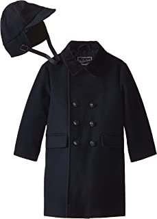 Little Boys' Toddler Faux Wool Dressy Coat with Hat