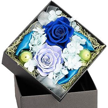 FLABEL プリザーブドフラワー フラワーアレンジ ボックスフラワー バラ Antietto(アンティエット) ブルー