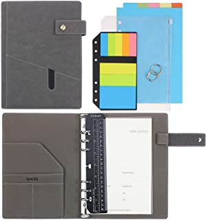 """SynLiZy A5 PU Leather Personal Organizer Undated Planner (A5 Gray) 7.36"""" x 9.44""""(Paper Size 5.5""""x 8.3"""") photo"""