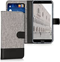 kwmobile Wallet Case for Huawei Honor 7X / Mate SE - Fabric and PU Leather Flip Cover with Card Slots and Stand - Grey/Black