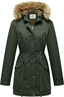 Women's Winter Coat Fleece Cotton Military Parka Fur Hooded Jacket