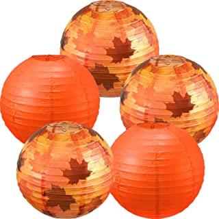 Blulu 5 Pieces Fall Party Decorations Maple Leaf Decorations Fall Round Hanging Paper Lanterns Party Lanterns for Thanksgi...