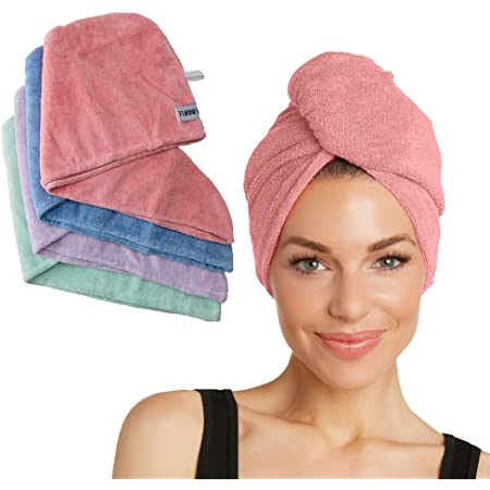 Turbie Twist Microfiber Hair Towel Wrap for Women and Men | 4 Pack | Quick Dry Turban for Drying Curly, Long & Thick Hair (Pink, Purple, Blue, Aqua)