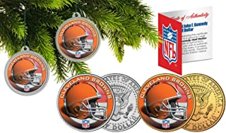 Licensed Cleveland Browns NFL Christmas Tree Ornament Colorized 24KT Gold JFK Half Dollar 2 Coin Set! W/H COA!