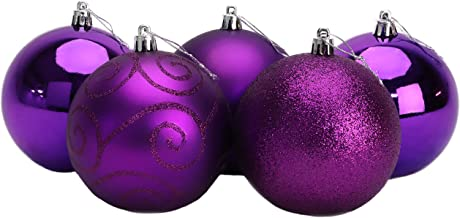 Pack of 5 - Extra Large 100mm Christmas Tree Baubles - Shiny, Matte & Glitter Decorated Baubles (Purple)