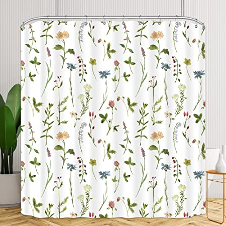 Riyidecor Fabric Floral Shower Curtain 72Wx72H Inch Botanical Plant Green Leaves Flower Watercolor Herbs Decor Bathroom Bathtub Accessories for Girl Women 12 Pack Plastic Shower Hooks Included
