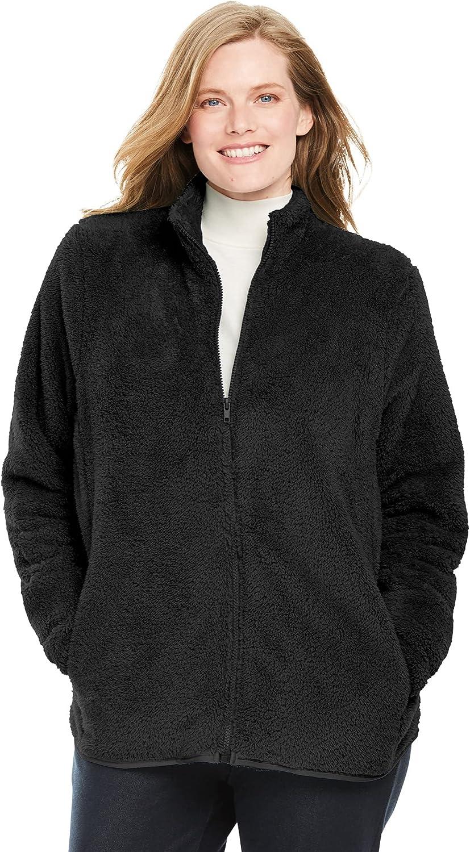 Woman Within Women's Plus Size Fluffy Fleece Jacket