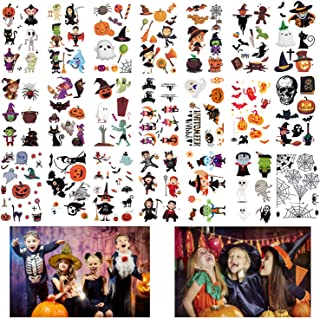 400 Patterns Halloween Tattoos for Kids, EBANKU Waterproof Ghost Monster Pumpkin Halloween Tattoo Design for Kids Children...