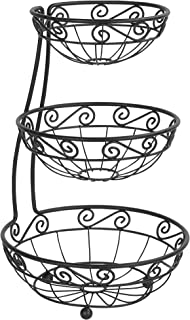 Spectrum Diversified Scroll Arched Server Stacked, 3-Tier Fruit Bowls Counters, Traditional Kitchen Décor & Fruit Basket Stand, Black