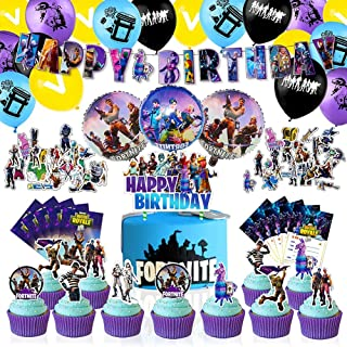 CANPA Video Game Party Supplies Birthday Party Decorations Set - 97PCS Include Happy Birthday Banner, Latex & Foil Balloon...