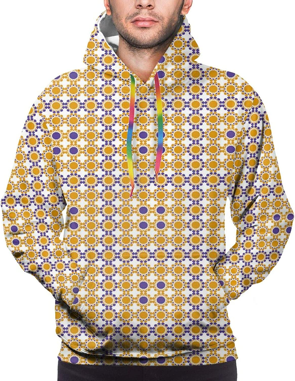 TENJONE Men's Hoodies Sweatshirts,Bicolour Design Flower Motif Repetition with Eastern Essentials