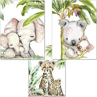 Artpin® P54 Lot de 3 tableaux muraux pour chambre d'enfant Motif jungle d'éléphant