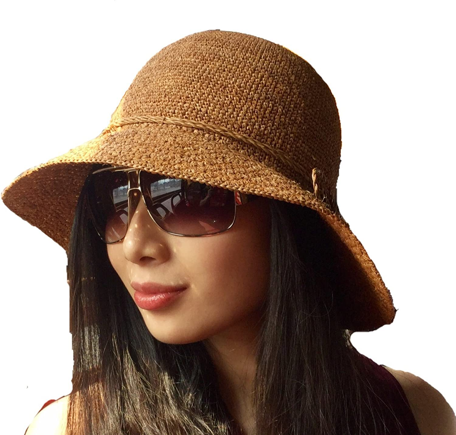 Dark brown raffia parttern sun hat 8cm brim rollie