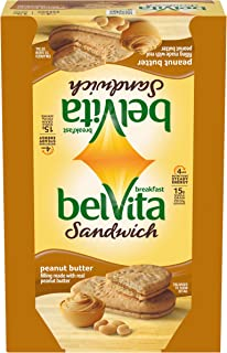 belVita Peanut Butter Breakfast Biscuit Sandwiches, 8 Count Box, 14.08 Ounce