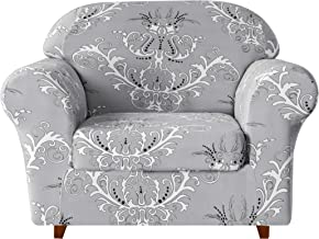 TIKAMI 2-Piece Spandex Printed Fit Stretch Sofa Slipcovers Spandex Washable Furniture Protector with Cushion Cover (Chair, Gray)